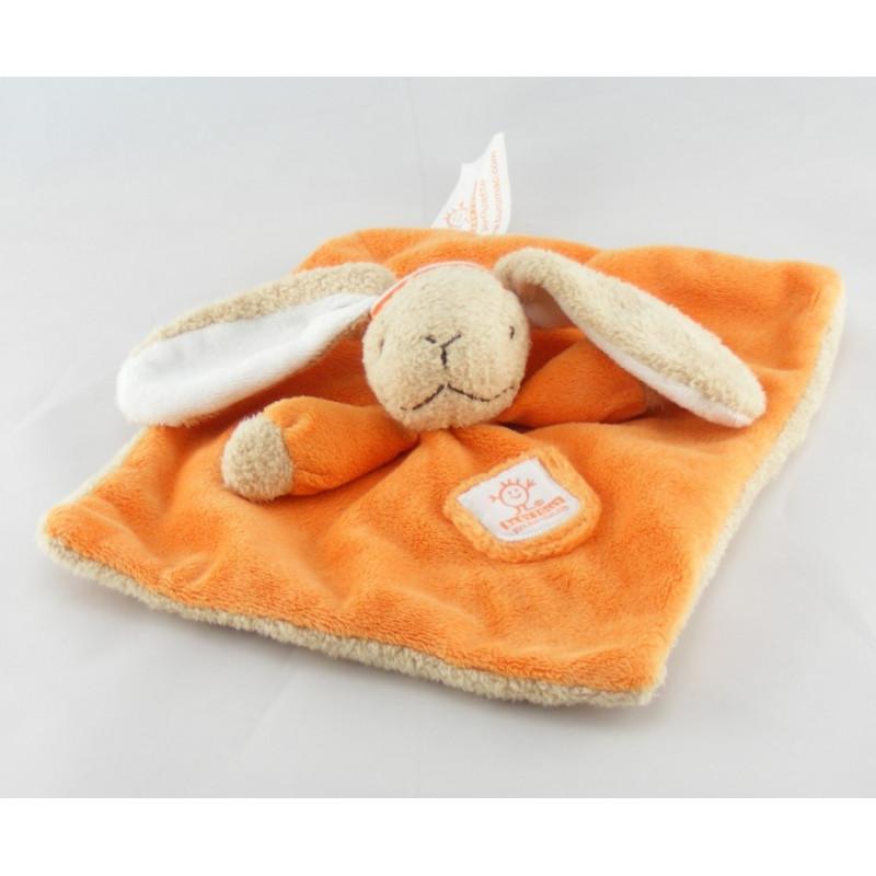 Doudou plat lapin orange BABY FOLLY