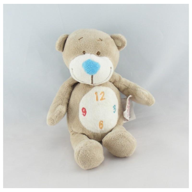 Doudou ours gris Emile pendule horloge BENGY