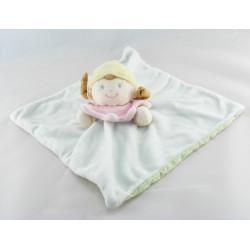Doudou plat fille fillette tenue bleu ciel rose MOTS D'ENFANTS
