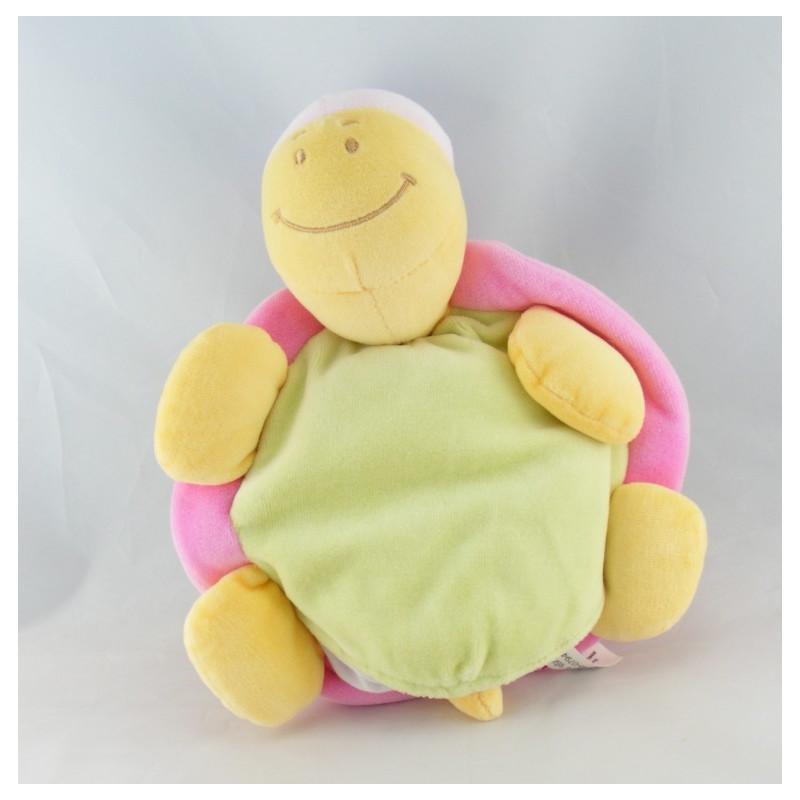 Doudou semi plat marionnette tortue verte rose TEX