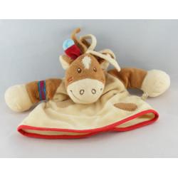 Doudou marionnette cheval Pinto kaya indien marron NOUKIE'S