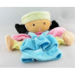 Doudou poupée fille métis robe bleu rose jaune NOUNOURS