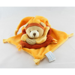 Doudou et compagnie plat carré noeuds ours orange cannelle