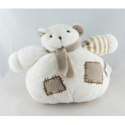 Doudou plat ours blanc gris Dodo d'amour MGM