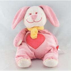 Doudou lapin rose coeur TEX 25 cm