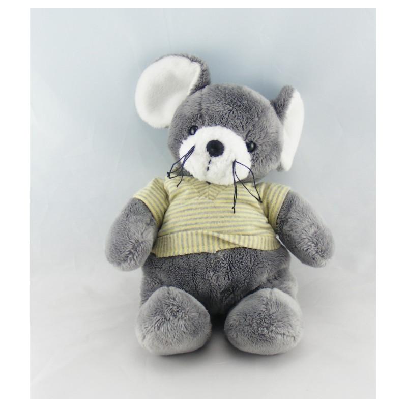 Doudou éléphant gris pull rayé jaune NICOTOY