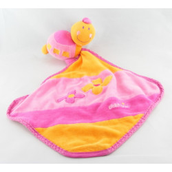 Doudou tortue avec mouchoir rose orange dentition BABYSUN