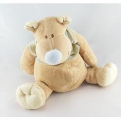 Doudou hippopotame beige rayé bleu KIABI
