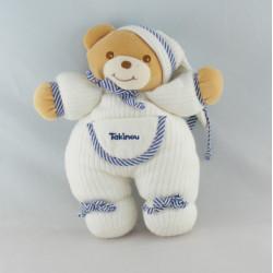 Doudou ours boule blanc bleu marine TAKINOU