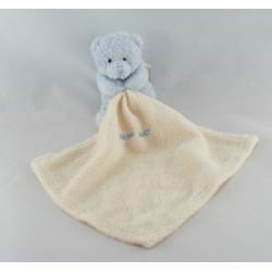 Doudou plat ours bleu mouchoir Baby nat