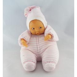 Doudou bébé poupée Baby Pouce rayé rose COROLLE 2008