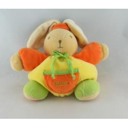 Doudou lapin boule jaune vert orange TAKINOU