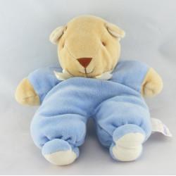 Doudou ours arlequin bleu blanc NOUKIE'S