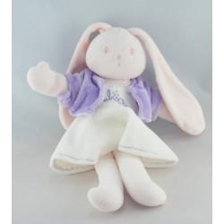 Doudou lapin rose robe blanche AUBISOU