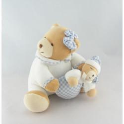 Doudou ours blanc vichy bleu KALOO 1998