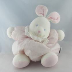 Doudou lapin boule blanc rayé rose NICOTOY