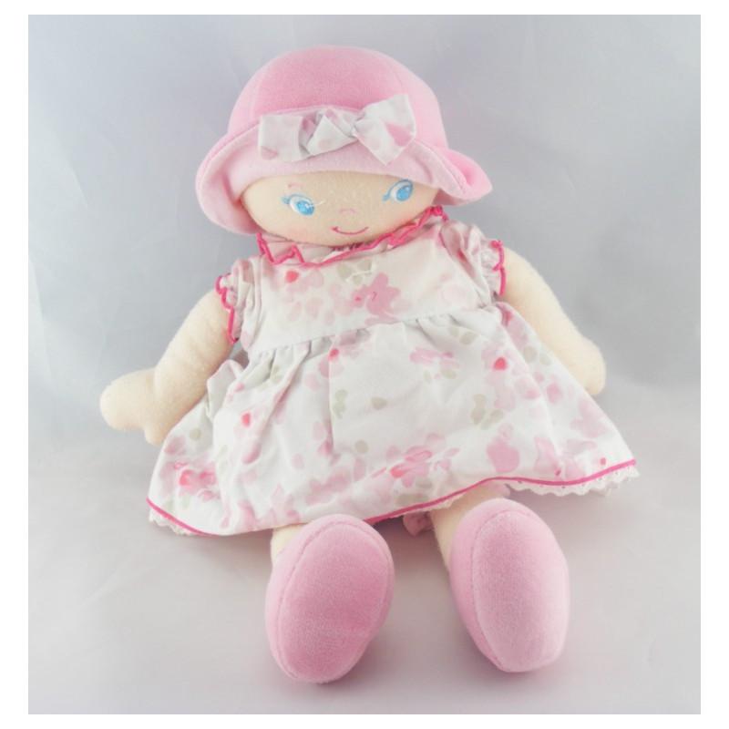 Doudou  poupée chiffon rose fleurs COROLLE 2007