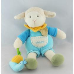 Doudou et compagnie Simon mouton bleu avec escargot