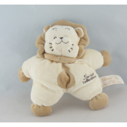 Doudou plat lion écru beige TIAMO COLLECTION