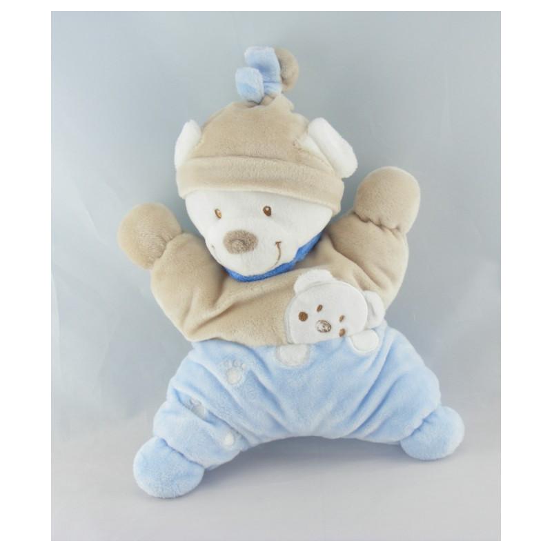Doudou plat ours bleu beige empreintes NICOTOY