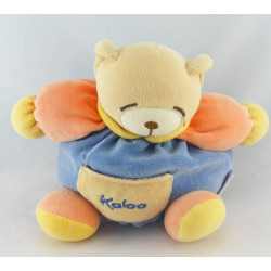 Doudou ours boule patapouf bleu orange KALOO